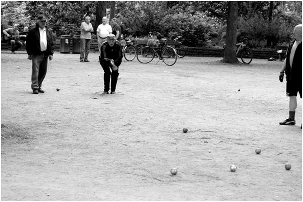 black and white bocce ball